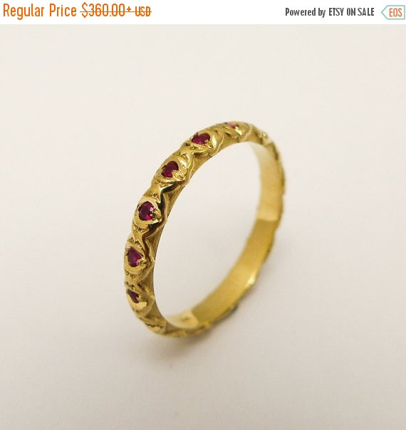ON SALE Ruby Engagement Ring Unique Engagement Ring Thin Gold