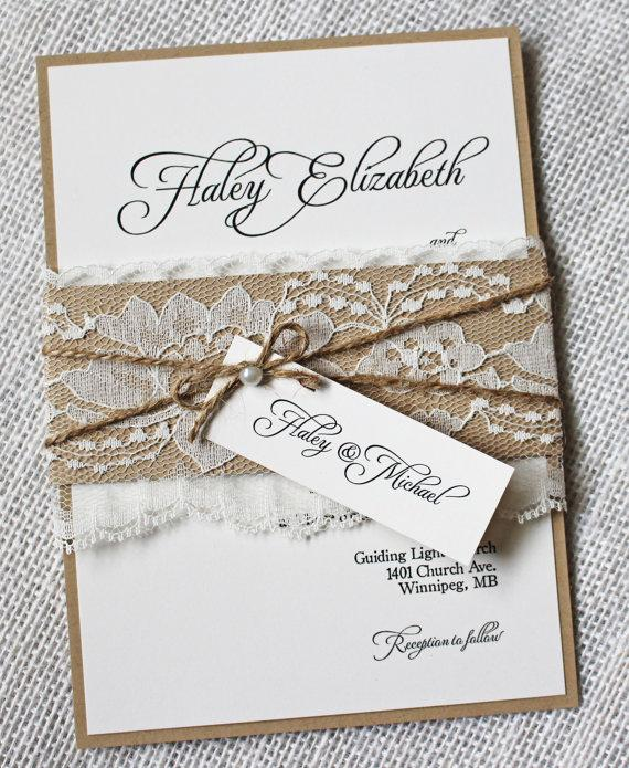 Rustic Wedding Invitations Lace Invitation Shabby Chic Suite Stationary
