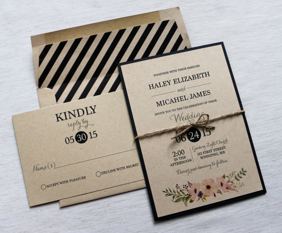 modern wedding invitation rustic vintage - Modern Wedding Invites