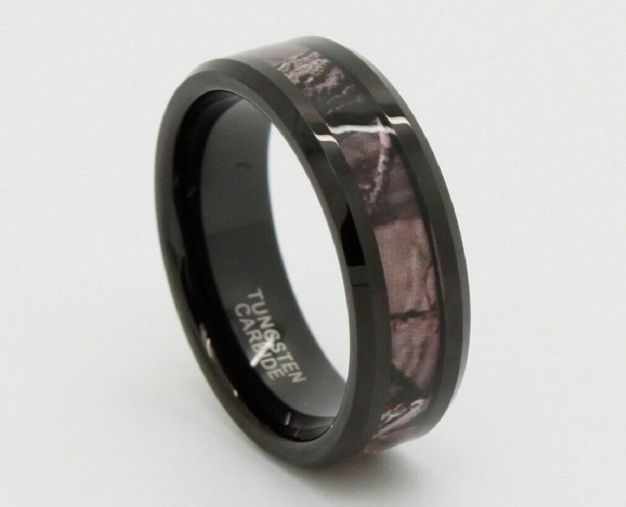 Tungsten Wedding Band Carbide Ring Engagement 8mm Camo Hunting Camouflage Beveledd Edge Black