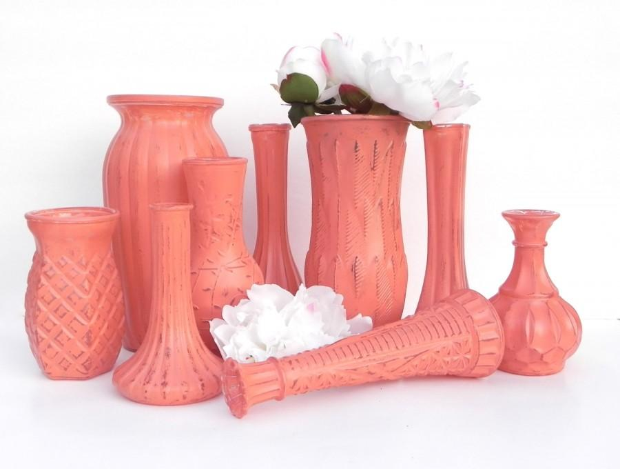 Lovely Shabby Chic Coral Vase Collection, Set Of 9 Mixed Size Vases  AV41