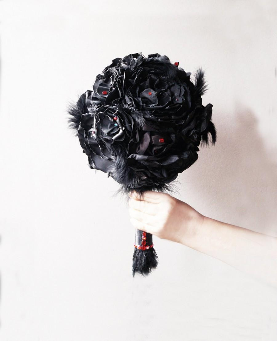 Black Bouquet Wedding Keepsake Bridal Fabric Flower Gothic Destination Rose