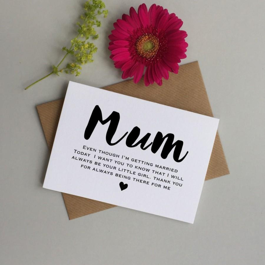 Card For Mum On Your Wedding Day To My Mom Mother