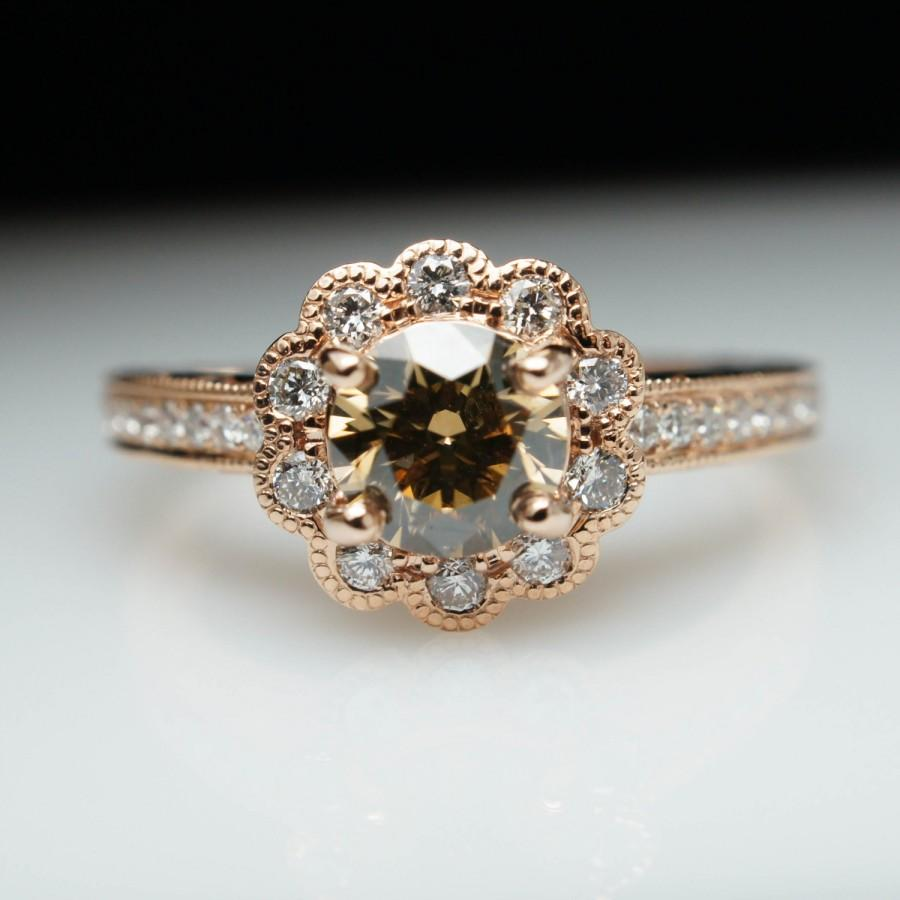 1 0ctw Champagne Brown Diamond 14k Rose Gold Flower Halo Engagement Ring Free Sizing Layaway Available