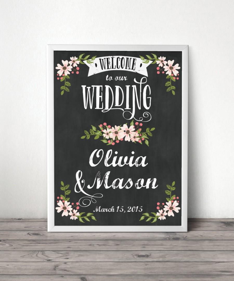 Custom Chalkboard Welcome Sign Wedding Bridal Shower Baby Digital File