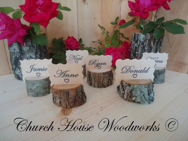 12 Rustic Place Card Holders Tree Wedding Decor Wood Holder Supplies
