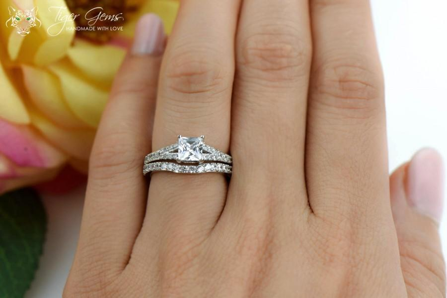 1 25 Ctw Princess Cut Bridal Set Split Shank Solitaire Engagement Ring Man Made Diamond Simulants Wedding Square Sterling Silver