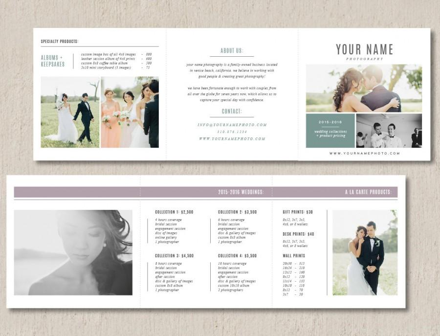 Photography Pricing Template Trifold Card For Photographers Product Guide Wedding Photographer Welcome Packet M0116