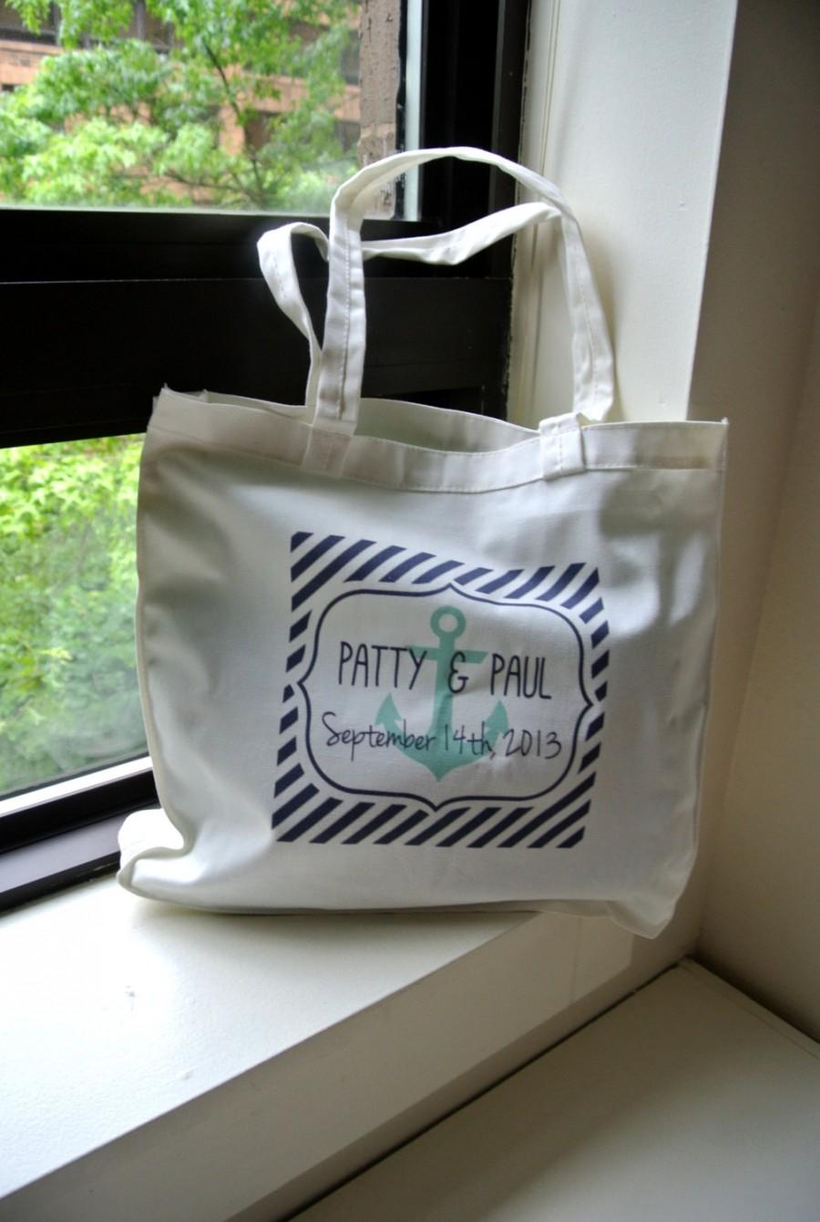 Personalized Nautical Beach Wedding Tote Bags Welcome Bag Bridesmaid Gift Destination