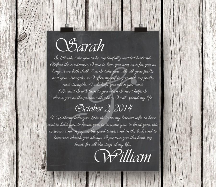 Wedding Vow Art Print Keepsake Personalized S Gift Newlywed Chalkboard First Anniversary Present Typography