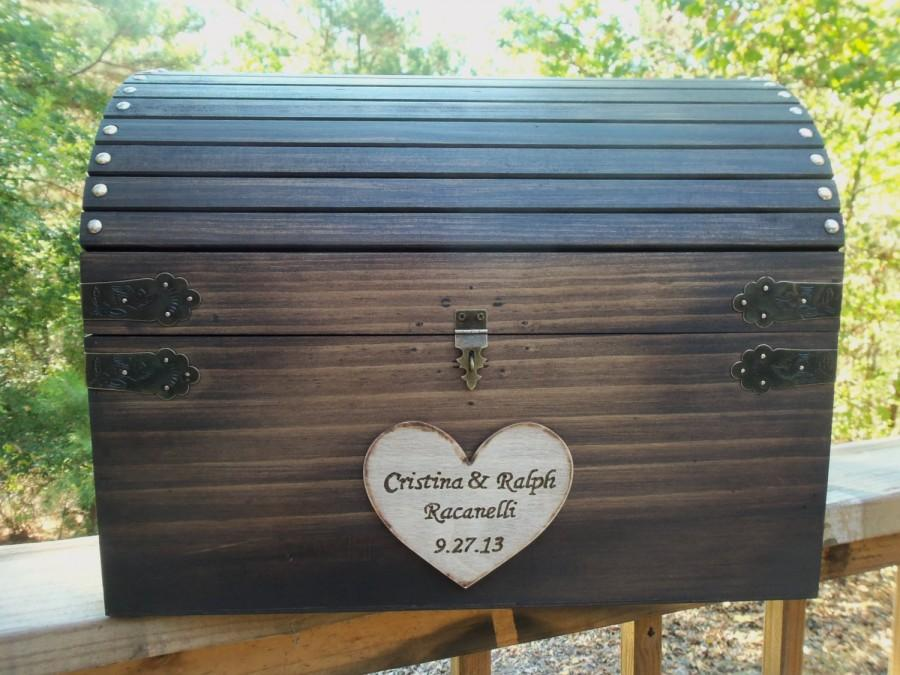 Rustic Wedding Card Box Huge Large Size Wood Chest With Slot And Key Set All Inclusive
