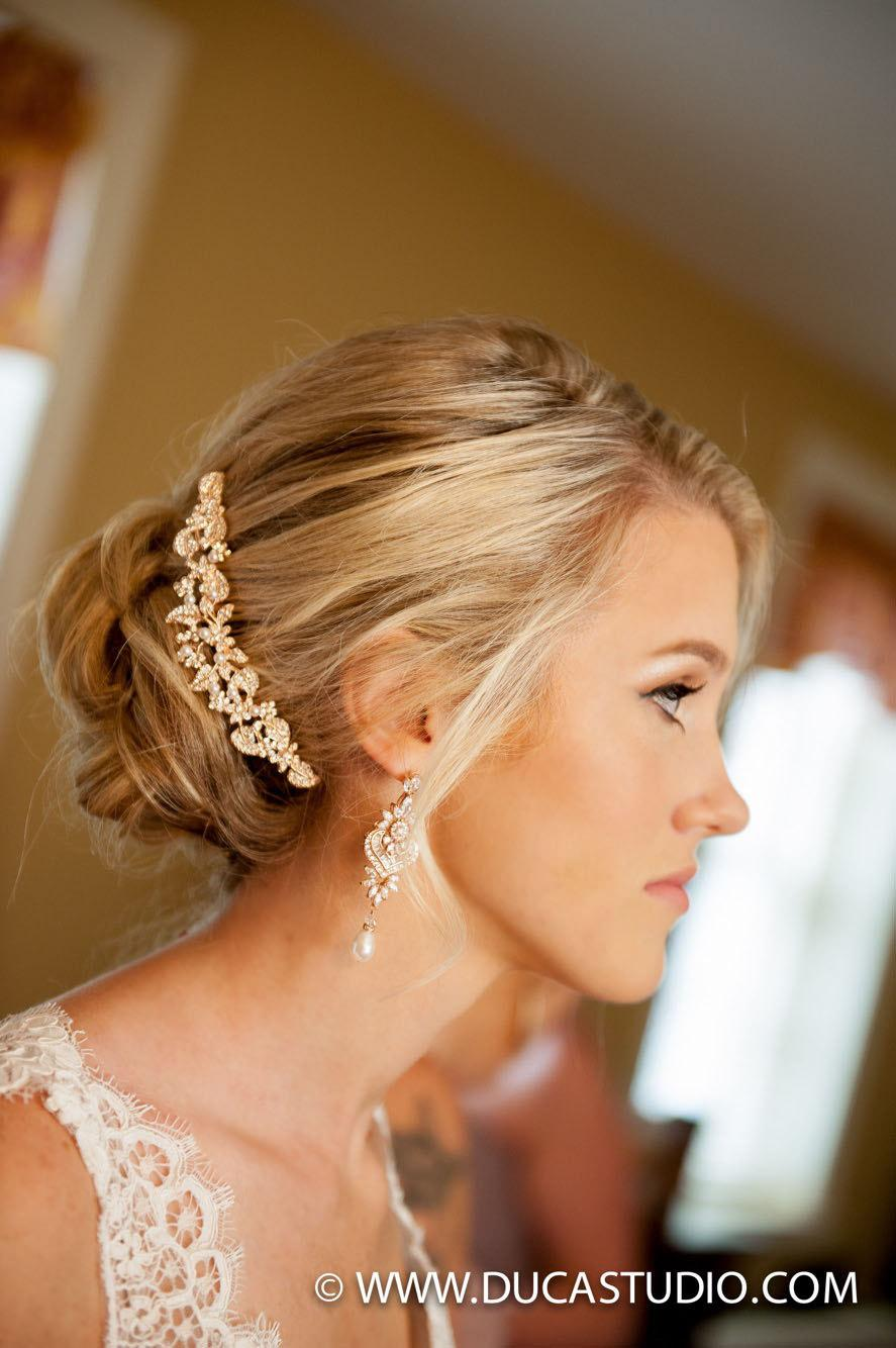 rose gold bridal hair comb, swarovski crystal rhinestone