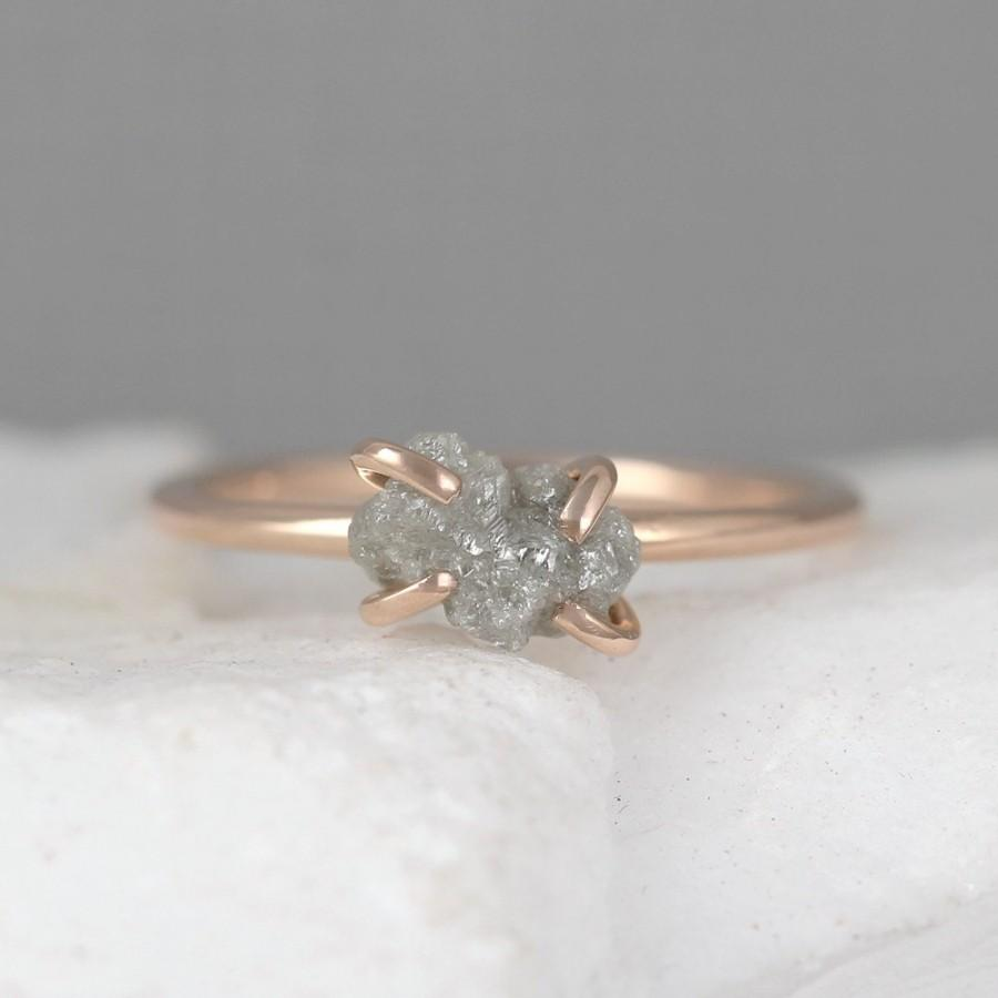 Raw Uncut Rough Diamond Engagement Ring 14k Rose Gold Gemstone April Birthstone Anniversary Conflict Free Ethical