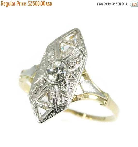 Sale Triangle Diamond Engagement Ring White Yellow Gold 18k