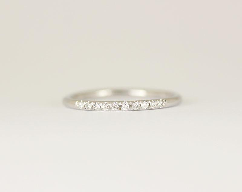 14k Solid White Gold Micro Pave Diamond Wedding Band Ring Stacking Half Eternity