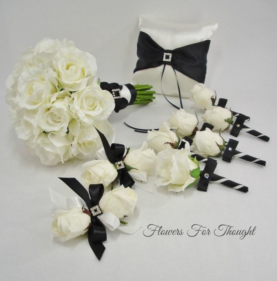 Black And White Bridal Package Fft Design Real Touch Roses Silk Flowers Elegant Wedding Bouquet Ring Bearer Pillow Made To Order