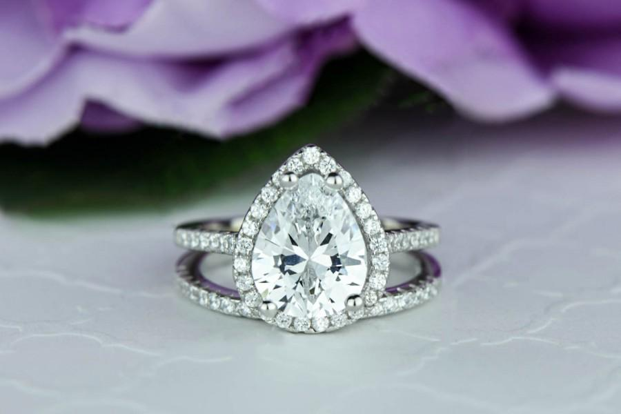 2 5 Ctw Clic Pear Cut Halo Engagement Ring Wedding Set Man Made Diamond Simulants Half Eternity Sterling Silver Stacking