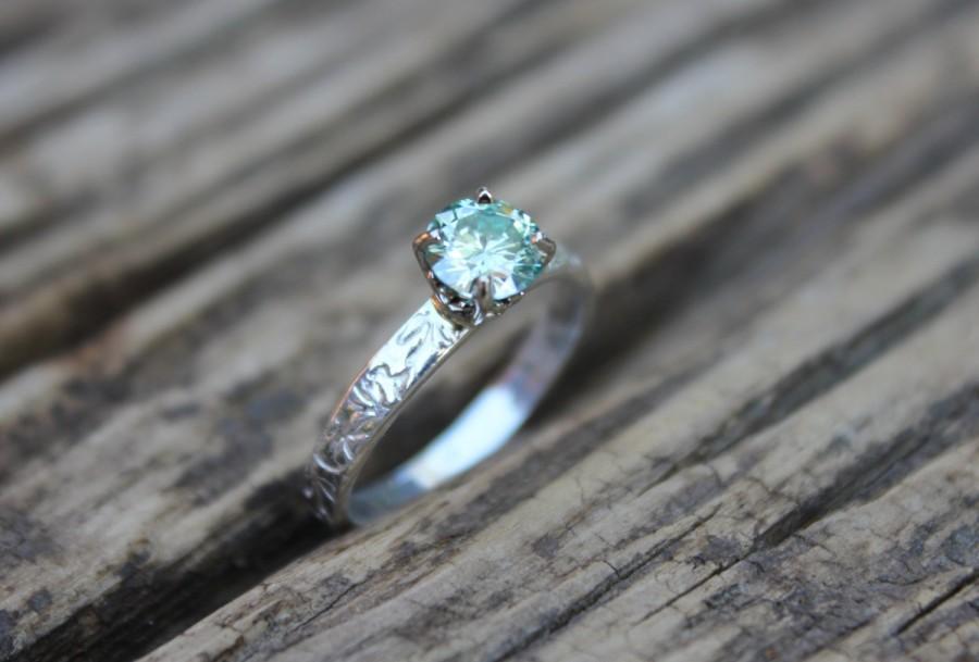 Moissanite Engagement Ring Unique Bohemian Diamond Alternative Green Silver