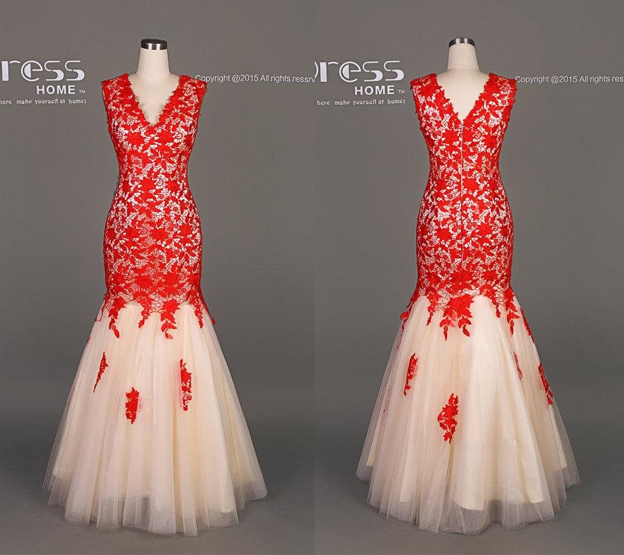 Luxury Red Lace Mermaid Long Prom Dress Little Tail Tulle Evening Gown Formal Y Party Wedding Dh481