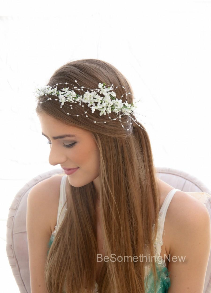 romantic wedding white flower crown with pearls beaded flower halo