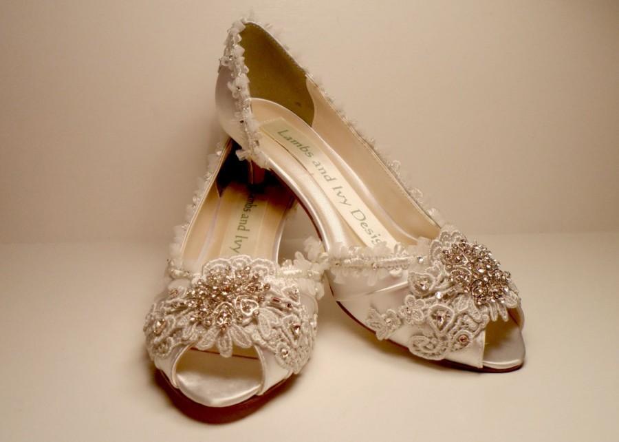Brides Silver Lace Wedding Shoes And Crystal Bridal Quinceanera Princess Bride Fairytale Rhinestone