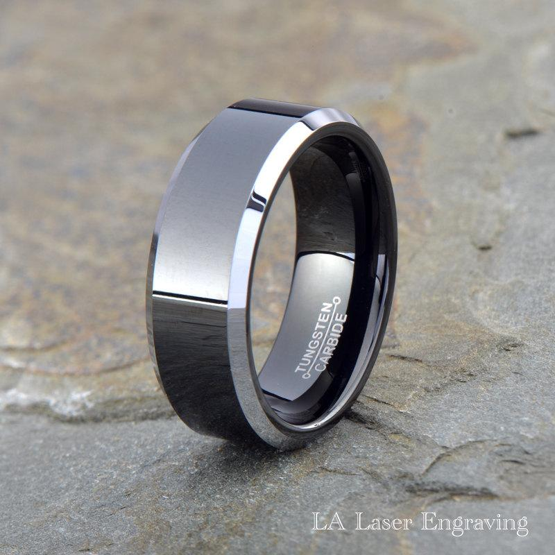 Tungsten Wedding Band Men Ring Black Engagement Anniversary Comfort Fit Silver Beveled Edges