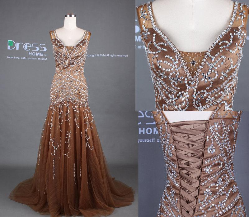 Luxury Chocolate Brown Beading Corset Mermaid Prom Dress Little Tail Tulle Evening Gown Formal Y Party Dh353