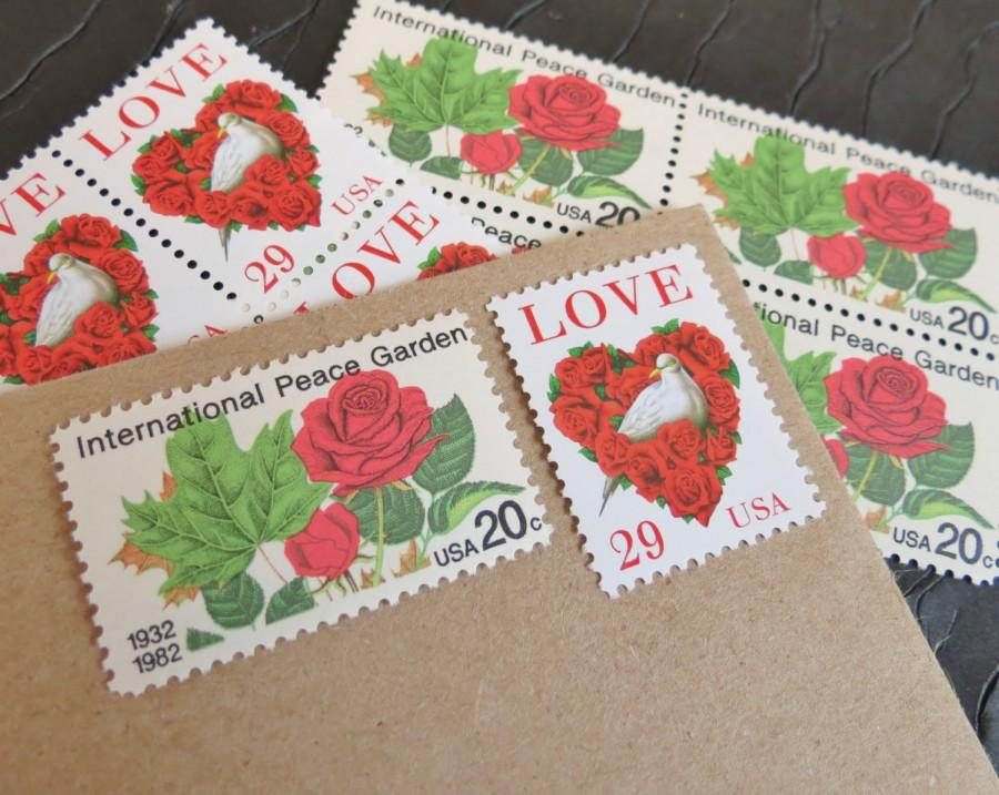 Roses Are Red Unused Vintage Postage Stamps Post 5 Letters