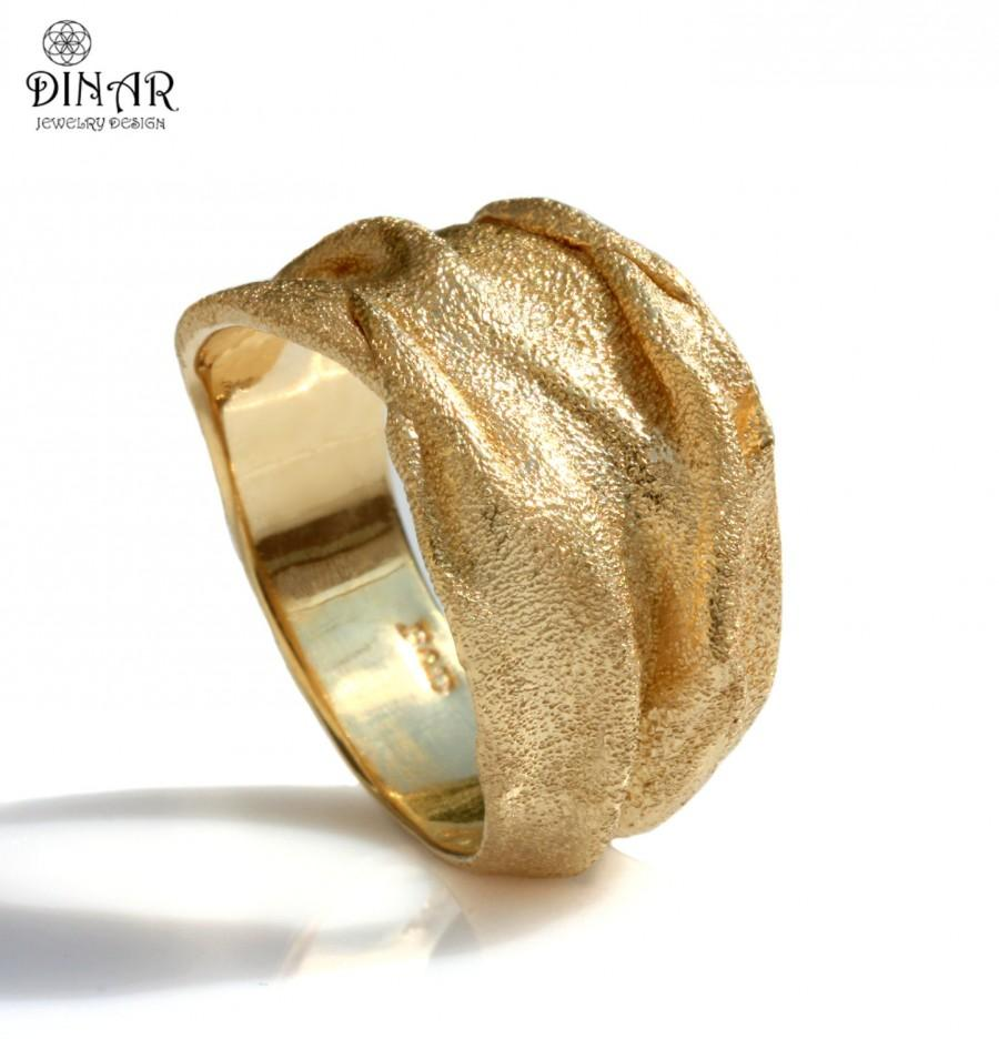 Gold Wedding Band 18k Men 14k Thick Wide Organic Designer Handmade Israel Dinar Jewelry Design Texture Sand
