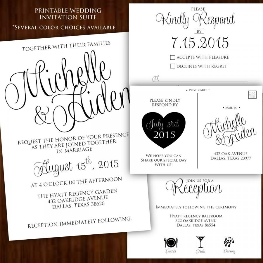 Printable Wedding Invitation Calligraphy Black White And