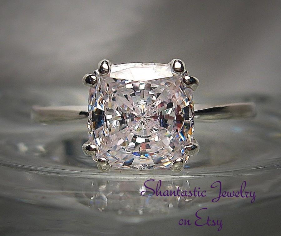 High Quality Antique Cushion Cut Warmer White Cubic Zirconia Sterling Silver Or 14k Gold Ring Made To Order