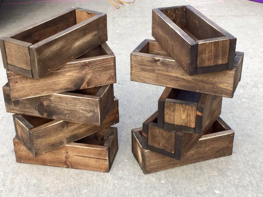 Set Of 10 To 25 Pick Your Color Wedding Centerpiece Distressed Wood Box Flower Decor Rustic Beach Riser Pine Planter