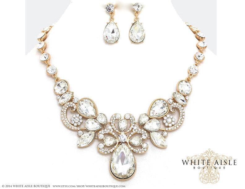 Gold Bridal Statement Necklace Set Wedding Jewelry Vintage Inspired Rhinestone Bridesmaid