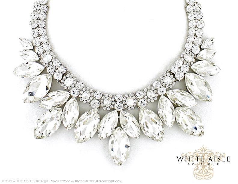 Crystal Bridal Jewelry Set Vintage Inspired Necklace Rhinestone Statement Chunky Wedding