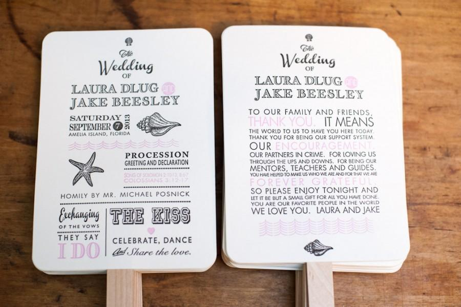 Fabulous Beach Wedding Program Fans, Destination Wedding Program Fan  JS63