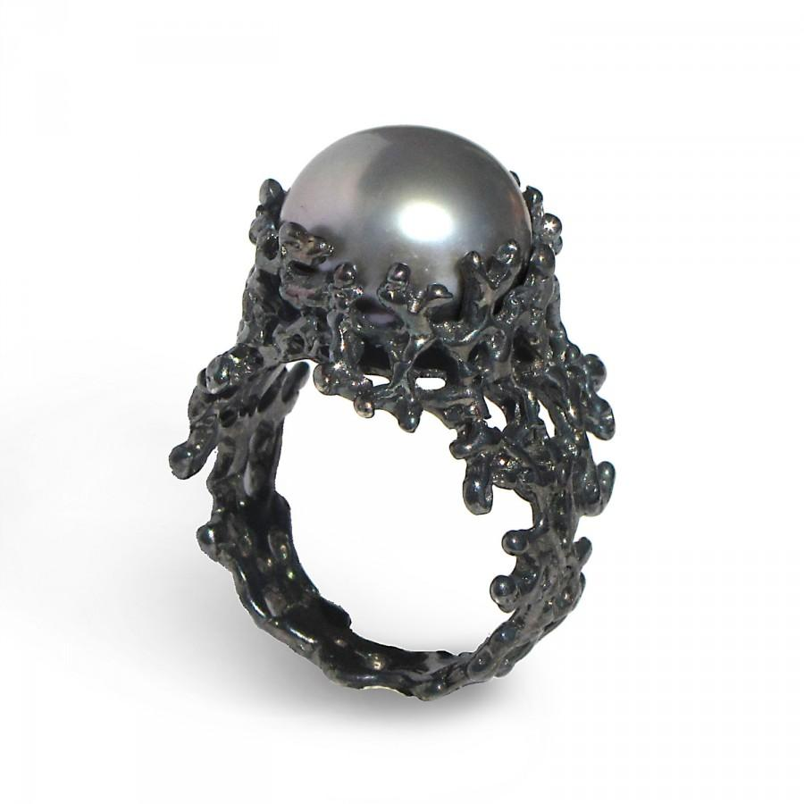 C Grey Pearl Ring Black Engagement Alternative Statement Jewelry