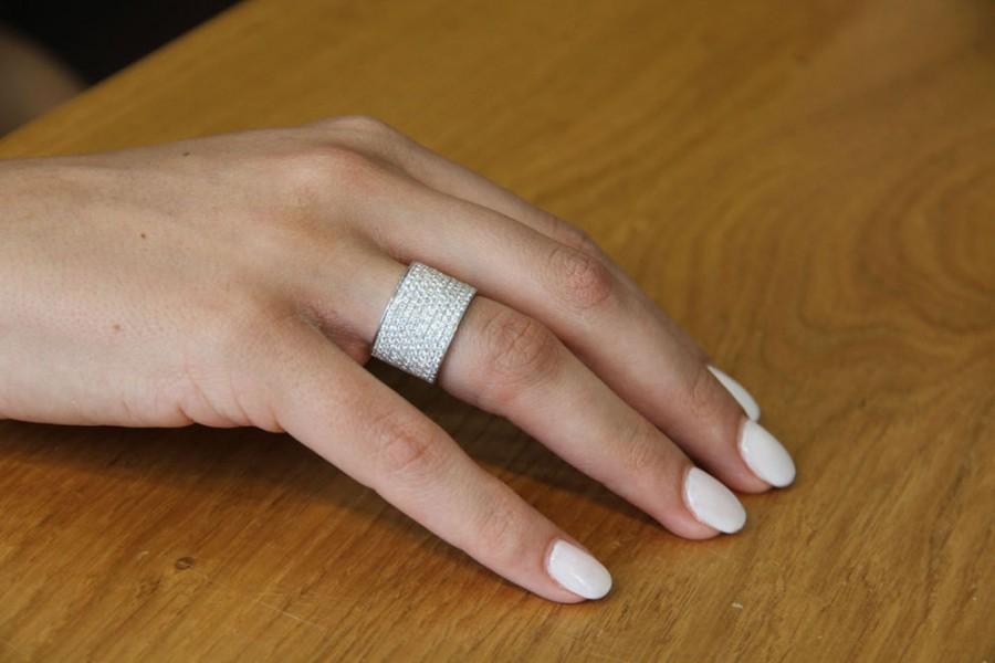 Wide Band Ring 18k White Gold Wedding 2 Tcw Diamond Womens