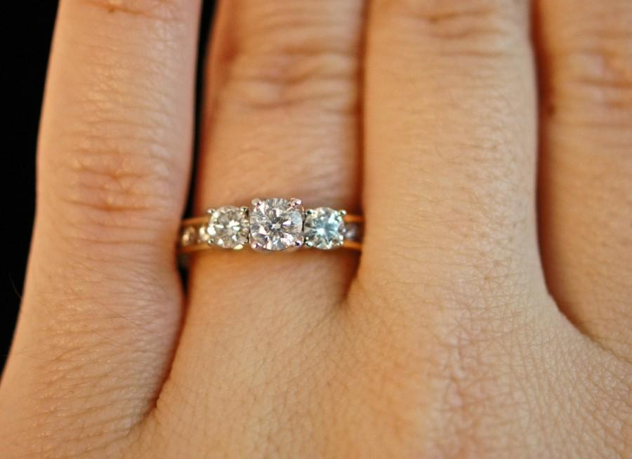 Vintage 99cttw Diamond Three Stone Engagement Ring Size 9 5