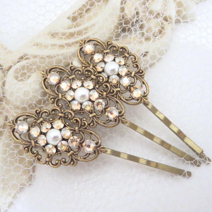 wedding hair pins, bridal hair pins, bobby pins, swarovski crystal