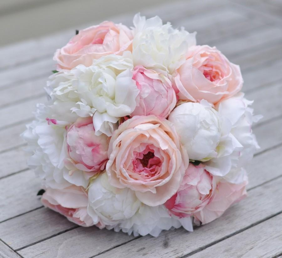 Silk Wedding Bouquet Keepsake Bridal Blush Pink C And Ivory Peony Flower