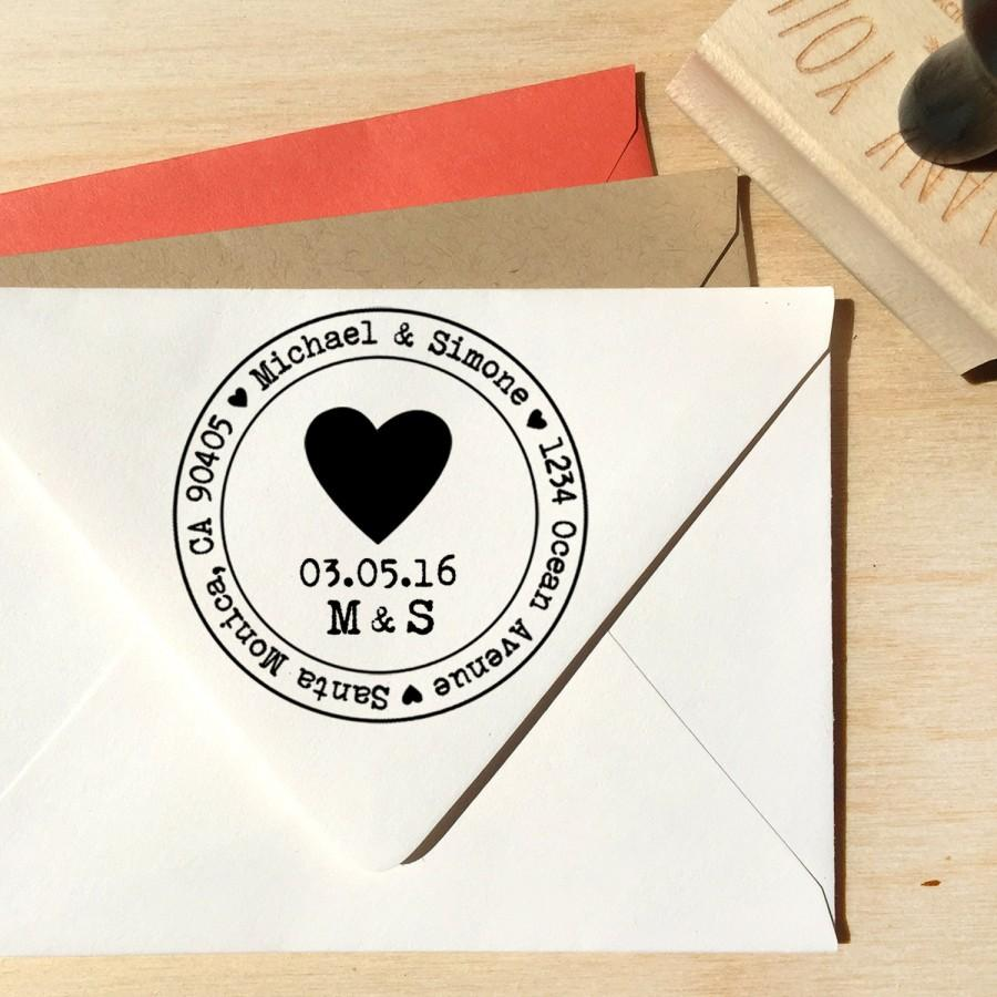 Heart Address Stamp For Save The Dates Wedding Invitations With A Typerwiter Font Your Date And Initials