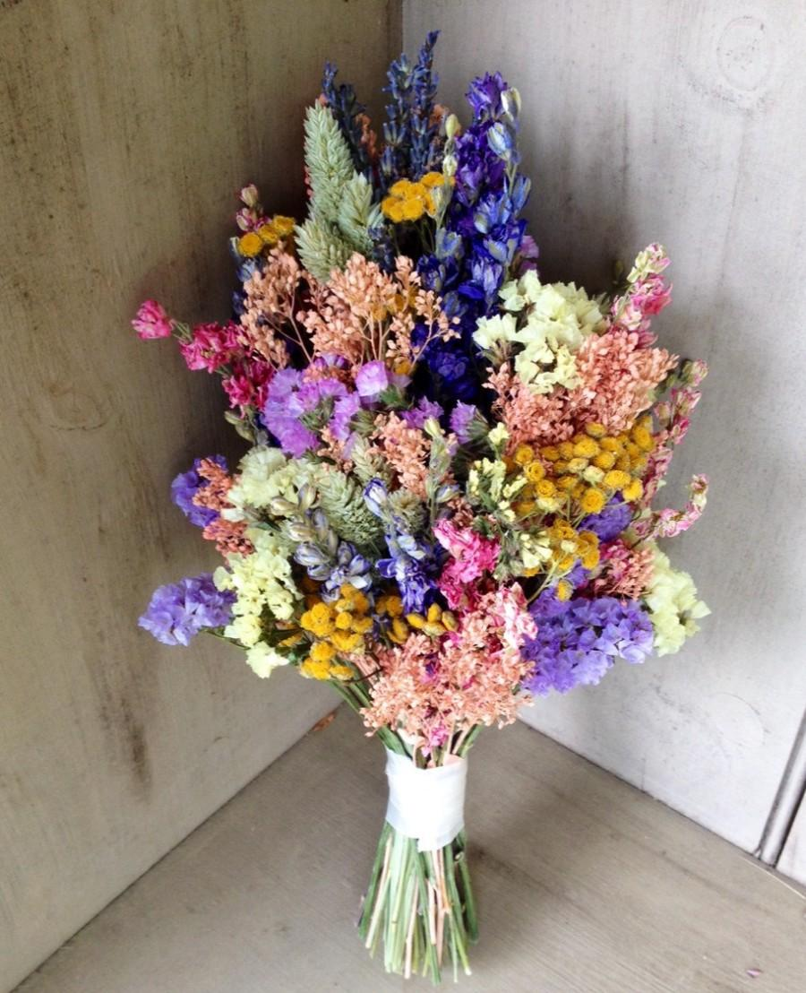 Brand-new Simple Dried Flower Bridal Bouquet In Pretty Pastel Colors  SR22