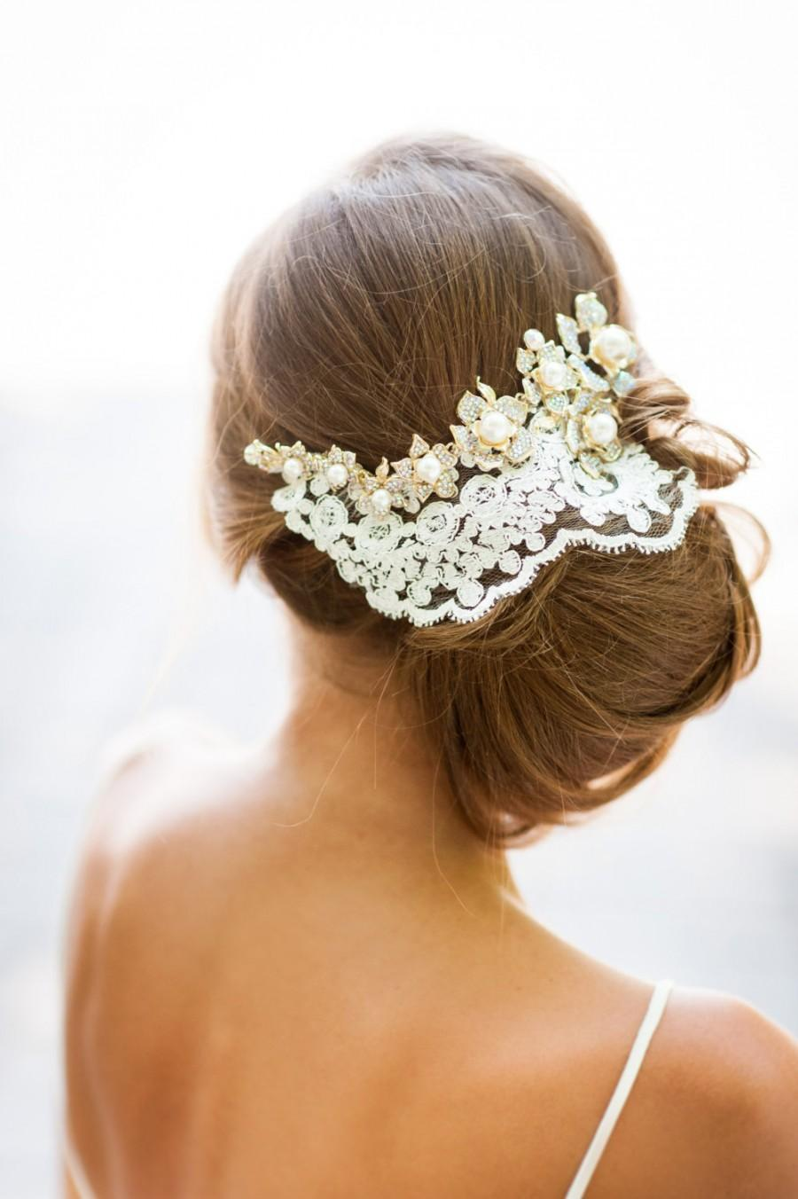 gold crystals and ivory lace hair accessory. handmade bridal lace