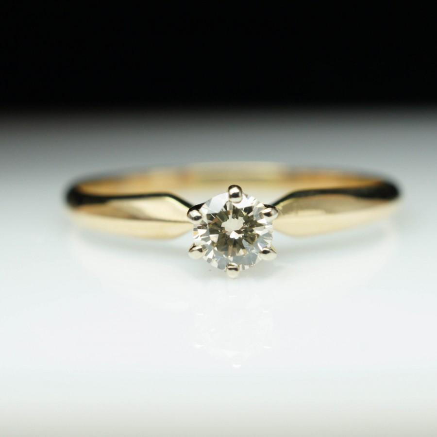 Vintage Solitare Round Diamond Engagement Ring 14k Yellow Gold Simple Solitaire