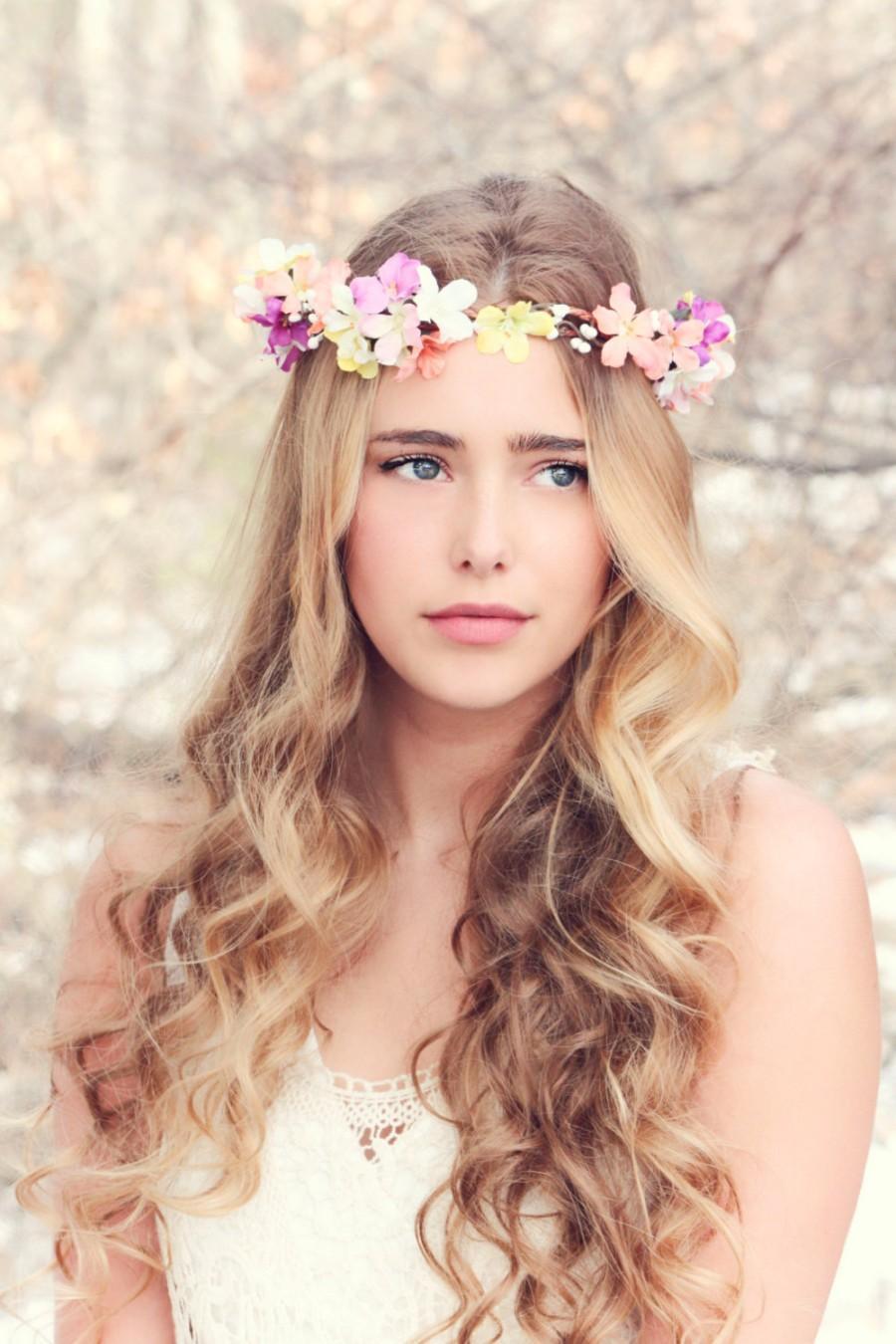 bridal flower crown, purple flower, pink flower, woodland wedding