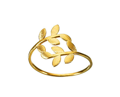 14k Solid Gold Olive Leaves Ring Delicate Dainty Ring Leaves Gold