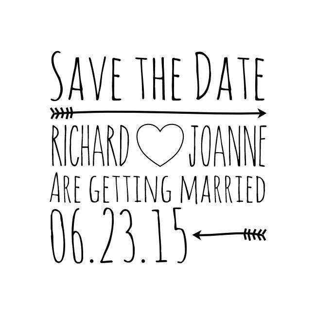 Custom Save The Date Stamp Rubber Name And Wedding Card Tags 1 7 X1 Cstd14