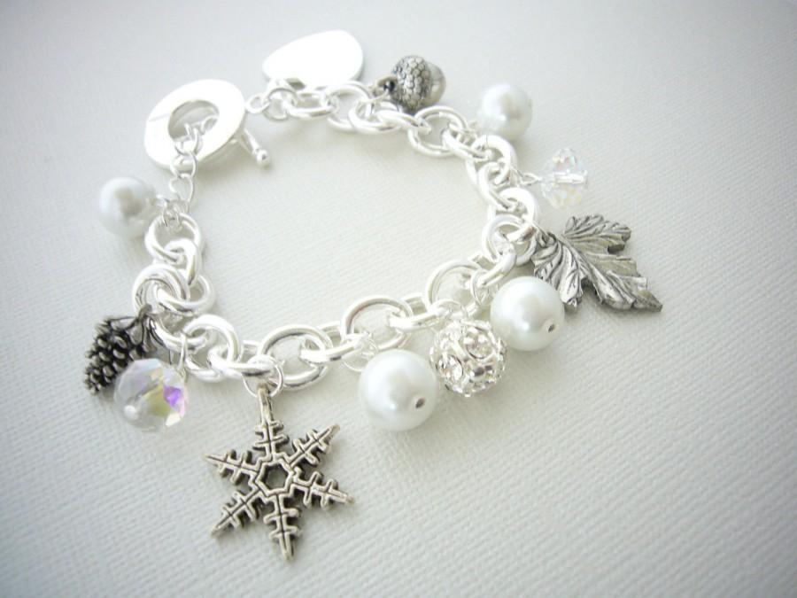 Winter Bracelet Silver Charm Snowflake Wedding Bridesmaid Gift Chunky