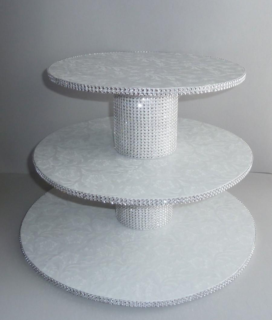 diy 3 tier wedding cake stand 3 tier bling white wedding cake cupcake stand tower 13603