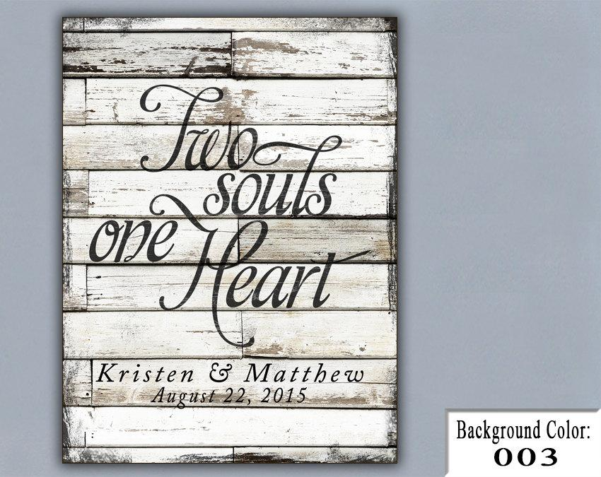 Ts Two Souls One Heart Wedding Sign Handmade Personalized Gift Engagement Custom Wood Vintage Special Date Bridal